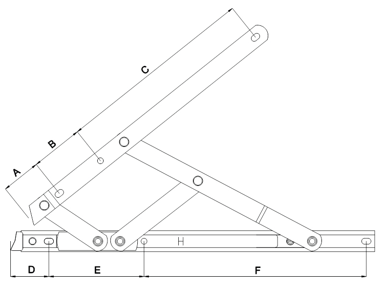 Elite Egress Friction Stay Fixing Hole Diagram
