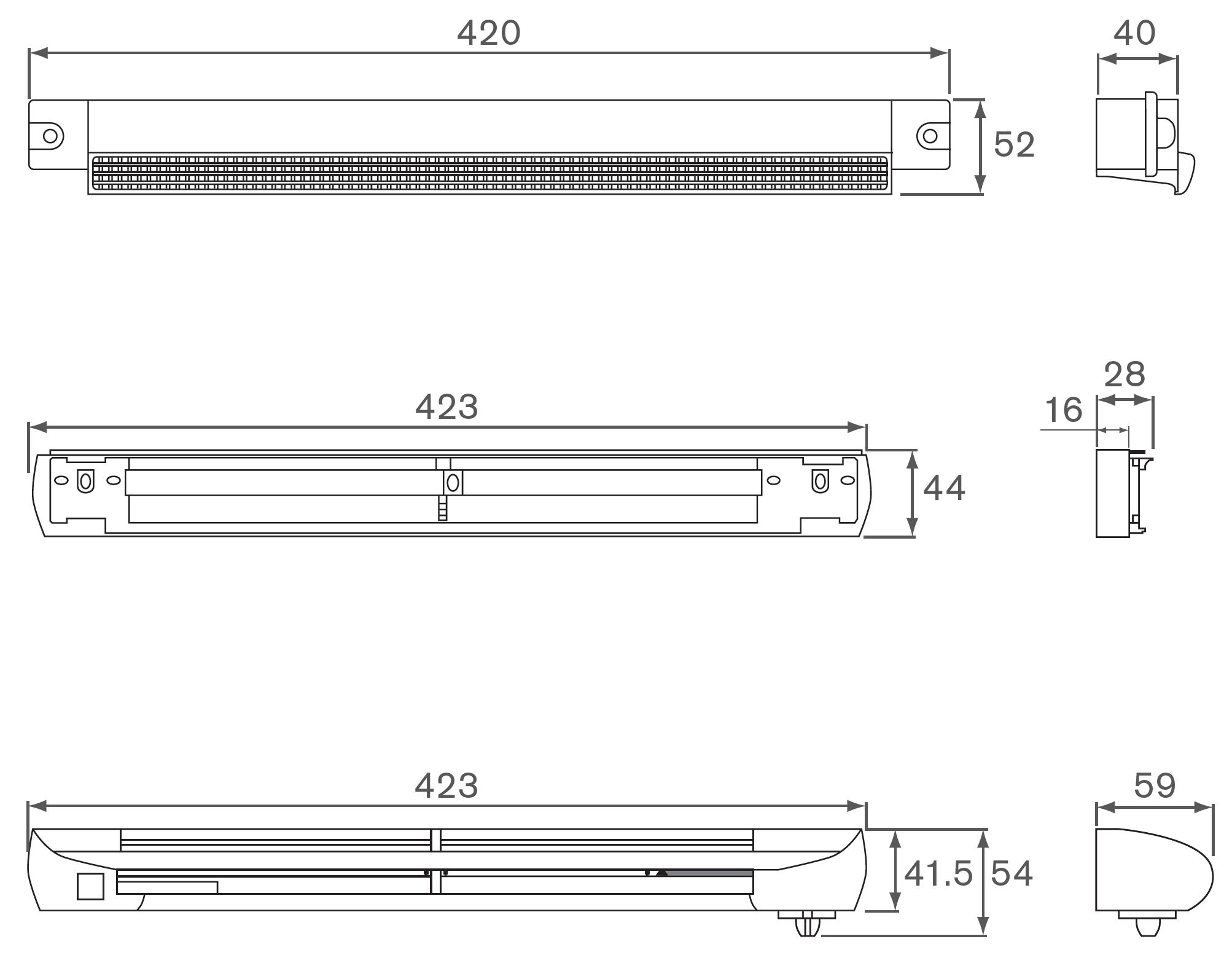 EAR42W Vents Dimensions