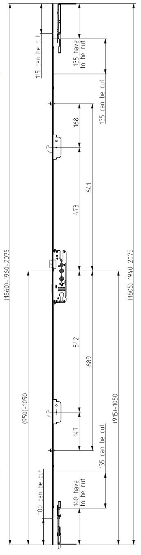 Elite Compact 2 Hook 2 Roller Lock Dimensions