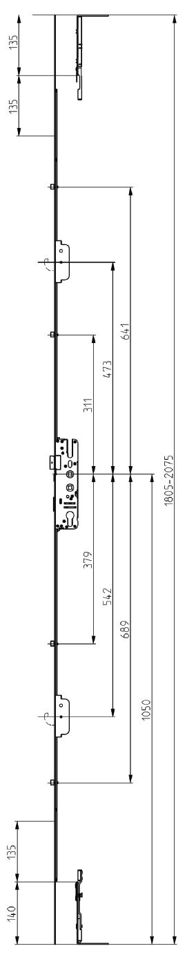 Elite Compact Lock 2 Hook 4 Roller Dimensions