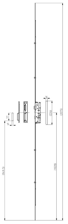 Elite Standard 4 Roller Lock Dimensions