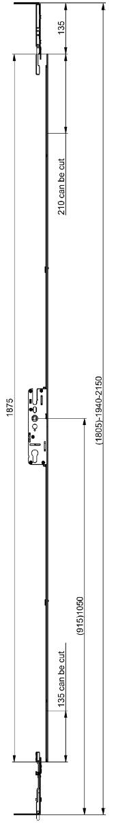 Elite 1 Piece Slave French Door Lock Dimensions