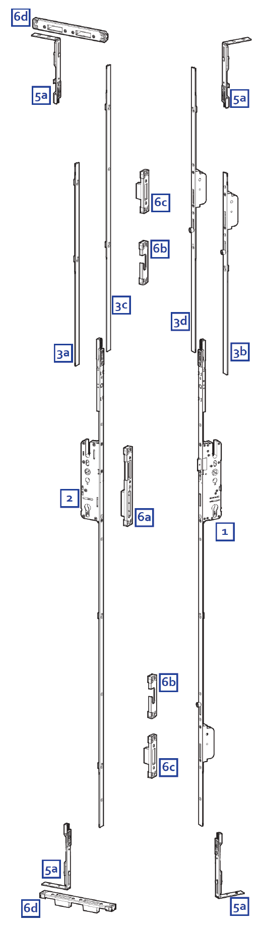 Elite 2 Piece Security French Door Lock Ordering Diagram