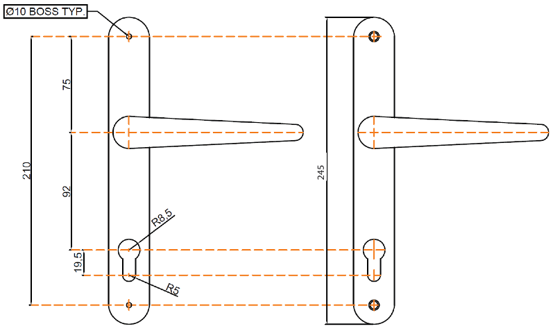 Lever Lever Long Backplate 0750-2001