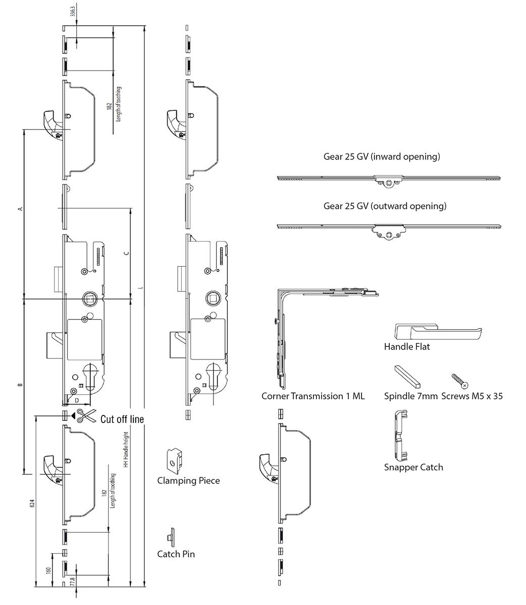 Stable Door Technical Drawing