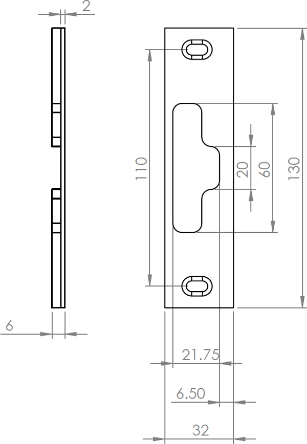 Low Threshold - Offset French Keep Dimensions