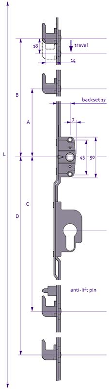 Inline Patio - 4 Hook Diagram