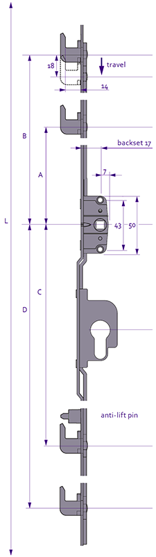 Inline Patio - 4 Hook Diagram