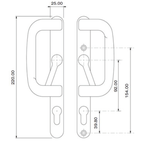 Inline Patio - Elite Handle Dimensions