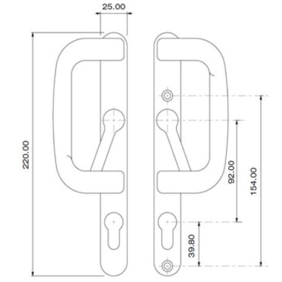 Inline Patio - Elite Handle Dimensions